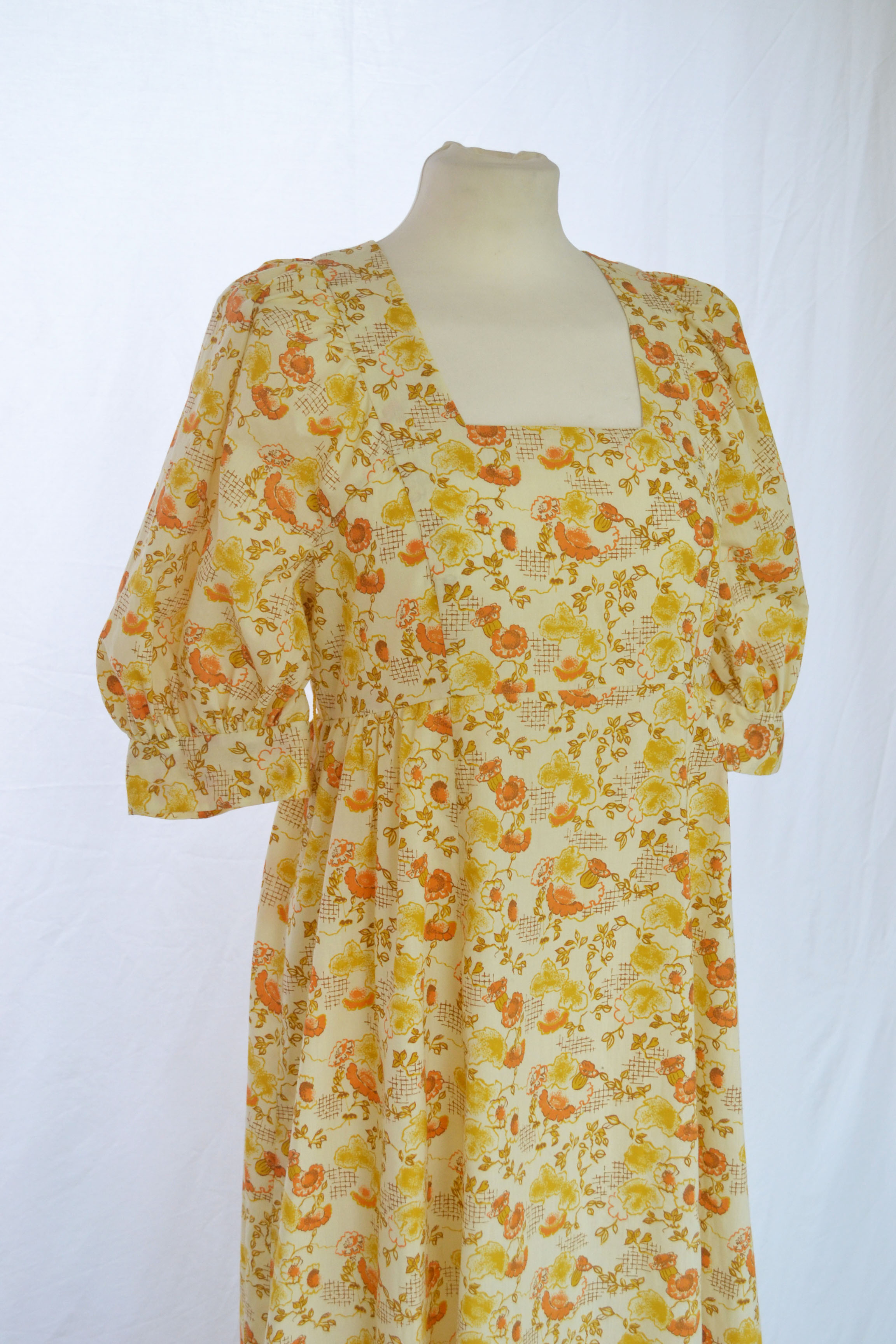 70s Yellow Floral Maxi Dress